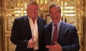 Donald Trump and Nigel Farage in a gold lift.